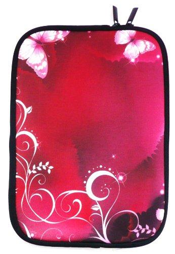 Emartbuy® Rosa Schmetterlinge Wasserabweisende Weiche Neopren Hülle Schutzhülle Hülle Cover mit Reißverschluss Odys Intellitab 7 Zoll Tablet ( 7 Zoll eReader / Tablet / Netbook )