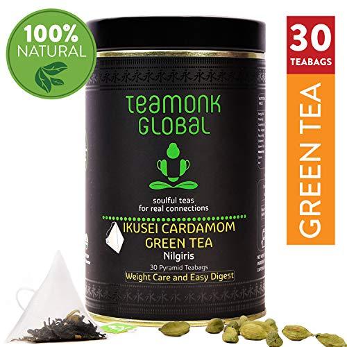 Teamonk Ikusei Nilgiri Cardamomo té verde cardamomo - 30 bolsitas de té | té para bajar de peso | té adelgazante | ayuda a mejorar la digestión | té de cardamomo natural | sin aditivos