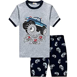 Toddler Boys Pajamas Monster Truck 100% Cotton Kids Summer Pjs Short Sets Sleepwear Clothes
