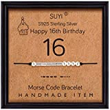 Suyi Happy 16th Birthday Gifts for Girls Morse Code Bracelet Sterling Silver Bracelet Birthday Jewelry Sweet 16 Graduation Gifts for Her 16