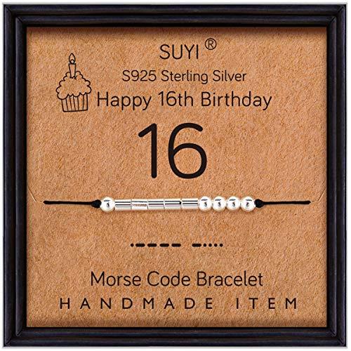 Suyi Feliz 16 Cumpleaños Regalos para Niñas Pulsera Código Morse Pulsera De Plata Esterlina Joyas De Cumpleaños Regalos De Graduación De 16 Años para Ella 16
