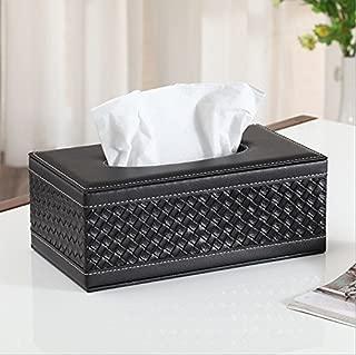 Kaimao Rectangular PU Leather Facial Tissue Box Holder Cover Reusable Napkin Paper Box Case for Home Office Hotel Car Automotive Decoration - (25.5149.5 cm / Black Woven Pattern)