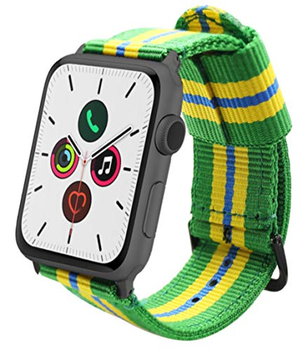 ESTUYOYA - Pulsera de Nailon Compatible con Apple Watch Colores Bandera de Brasil Ajustable Estilo Deportiva Casual Elegante para 42mm 44mm Series 6/5 / 4/3 / 2/1 / SE/Nike+