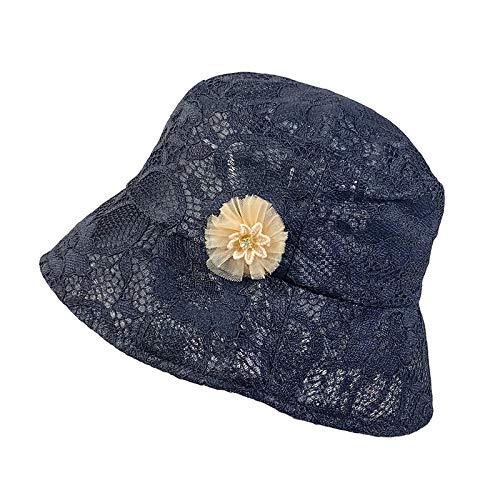 COMVIP - Sombrero de encaje para mujer, diseño de ala ancha, protección contra rayos UV Negro Negro ( Talla única