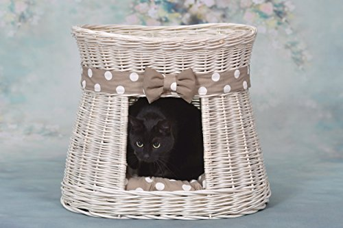 e-wicker24 Ovale Katzenhütte in weiß, Katzenkorb aus Weide, Korb für die Katze mit Zwei Etagen, Katzenlager mit Kissen und Schleife, Katzenturm