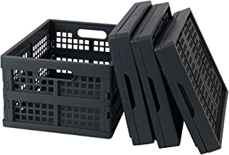 Zerdyne 30 L Gray Plastic Stackable Folding Crates Storage, 3-Pack Collapsible Storage Bins
