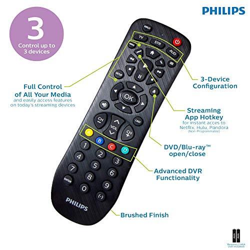 Philips Universal Remote Control for Samsung, Vizio, LG, Sony, Sharp, Roku, Apple TV, RCA, Panasonic, Smart TVs, Streaming Players, Blu-ray, DVD, 3-Device, Black, SRP9232D/27