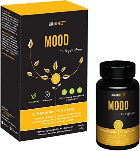 BRAINEFFECT MOOD - Pflanzlicher Stimmungsaufheller - 90 Kapseln - Mehr Wohlbefinden und gegen Antriebslosigkeit - Vegan