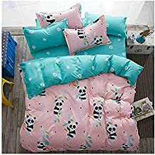 KFZ Girls Kids Baby Panda Bed Set Twin Full Queen Size, 1 Duvet Cover (Without Comforter Insert) 1 Flat Sheet and 2 Pillow Cases (Small Panda, Pink, Twin 60
