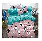 Bed Set 4pcs Bedding Set Duvet Cover No Comforter Flat Sheet Pillowcases Queen Size 78'x91' China Panda Design Kids Adults Teens Sheet Sets (Queen, Small Panda)