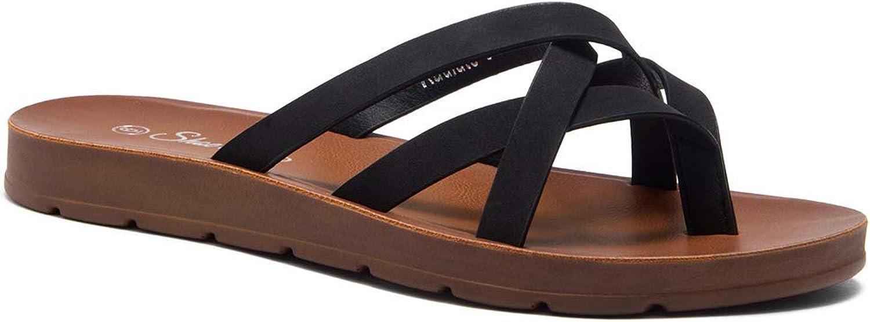 Herstyle Radiate Women's Flat Gladiator Thong Sandals Greek Platform Low Wedge shoes