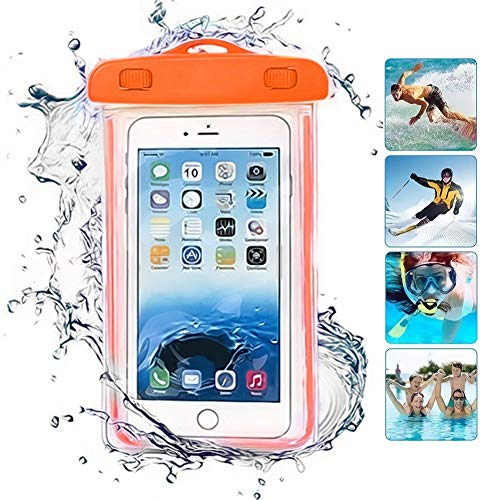 ONX3 Orange Universal wasserdichte Handy Strand Pool Regen Dokument Wertsachen Schutzhülle Tasche kompatibel mit Oukitel K4000 Pro