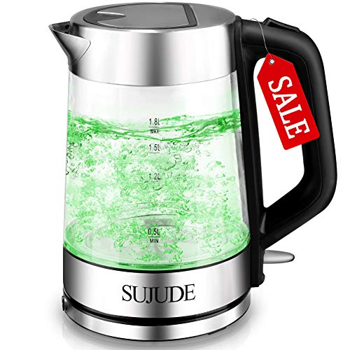 SUJUDE Electric Kettle-Glass Hot Water Boiler and Heater-Led Tea Kettle - Cordless Electric Tea, Coffee Pot Kettle with Automatic Shut off and Boil-Dry Protection