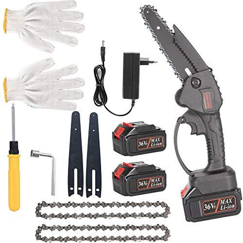 Motosierra eléctrica de 6 pulgadas 36VF 3000mAh con guantes resistentes a cortes y 2 baterías, para poda de árboles y jardines, herramienta de jardín