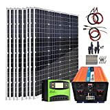 AUECOOR 960W 12V/24V Solar Panel Off Grid System Kit: 8pcs 120 Watt Mono Solar Panel + 3000W Power Inverter (Peak 6000W) + 60A PWM...