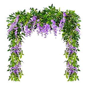 DINAPENTS Artificial Flowers Wisteria Garland, 4 Pcs 6.6Ft/Piece Purple Artificial Wisteria Vine Rattan Silk Hanging Flower Decoration for Home Garden Party Outdoor Ceremony Wedding Arch Floral Decor
