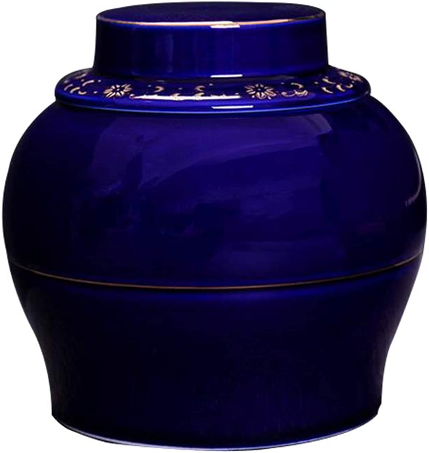 Adult Cremation Urn for Ashes,Handmade Ceramic Production,AntiRust,Burial Urns At Home or in Niche at Columbarium, Sapphire bluee