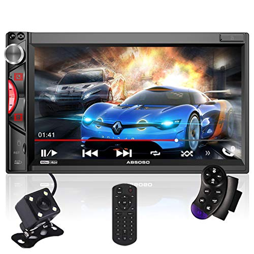 7 Inch Touchscreen Car Stereo, ABSOSO Double Din Car Audio Receiver with Bluetooth, PhoneLink, HD Backup Camera, 16-Band EQ, AM FM Radio, USB SD AUX, Video Output, SWC, Wireless Remote