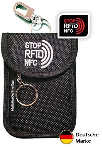 MakakaOnTheRun Keyless Go Autoschlüssel Schutz: RFID Blocker Autoschlüssel Hülle mit 2 RFID NFC geschützten Fächern. Schutz gegen Funk-Diebstahl für Keyless-Go. (Funkschlüssel Abschirmung)
