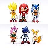 MIAOGE Juguetes sónicos 6 Piezas/Set Sonic Figures Toy PVC 7cm Juguete Sonic Shadow Tails Personajes Figura Juguetes para Niños Animales Juguetes Set