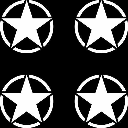 GreenIT 4 Stück US Sterne 5cm matt weiß USA Army MP Auto Jeep Tuning Aufkleber Tattoo die Cut Deko Folie