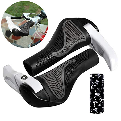 Fahrradgriffe Ergonomisch Weiß mit Maske, Wafly 1 Paar Fahrradgriffe Ergonomisch mit Hörner Aluminium-Legierung Gummi Handgriffe Lenkergriff für Fahrrad/ Mountainbike/ Rennrad/ Faltrad (22mm)