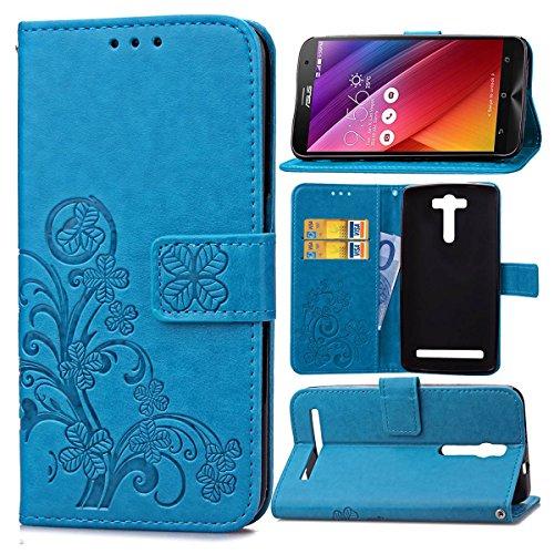 Guran® PU Ledertasche Case für Asus ZenFone 2 Laser ZE550KL (5,5 Zoll) Smartphone Flip Cover Brieftasche & Stent Funktionen Hülle Glücksklee Muster Design Schutzhülle - Blau