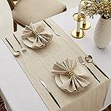 DAPU Tischläufer Leinen, Abwaschbare Tisch Läufer aus reinenm Leinen 40×140cm, Moderne Einfarbige Tischdecke Leinenoptik für Essentisch Hochzeit Party Beige - 3