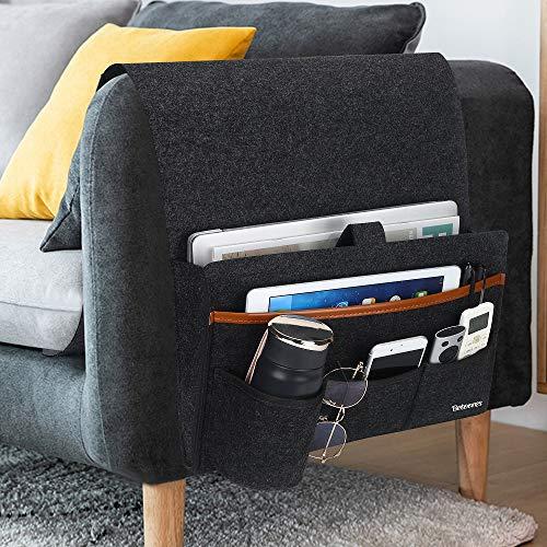 Betoores Sofa-Organizer für Einhängen, Bett Sessel Couch Aufbewahrungstasche mit Wasserflaschenhalter für TV-Fernbedienung, Handys, Bücher, Zeitschriften - Dunkelgrau