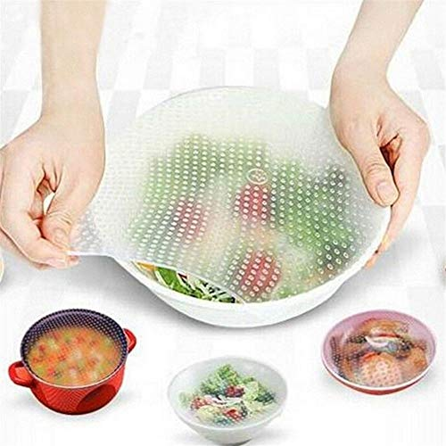 Aliments réutilisables en silicone Wrap Seal Couverture extensible Cling Film Fresh Food Saver Cuisine Helpers alimentaire silicone extensible Cover napperon (Color : White, Number of Pcs : 4PCS)