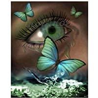 5D DIYファンタジーアートダイヤモンド絵画バタフライアイズラインストーンの写真フルスクエアラウンドダイヤモンド刺繡ビーズの家の装飾アート番号ラインストーンアクセサリー40x50cmフレームなし