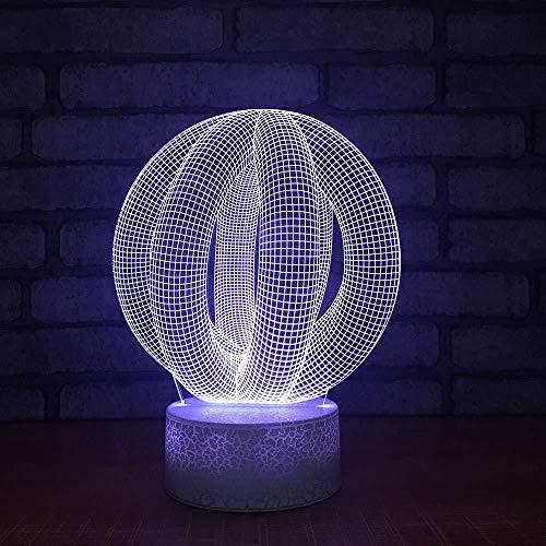 3D Luz Nocturna Led Lámpara De Ilusión Anillo de carretera ideal como regalo de cumpleaños para niños, niños y hombres Con interfaz USB, cambio de color colorido