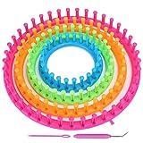 Juego de telares de tejer redondos, Delaman Circle Juego de telares de tejer redondos Kit de herramientas para manualidades con aguja de gancho y bufanda de pompón Accesorios para manualidades
