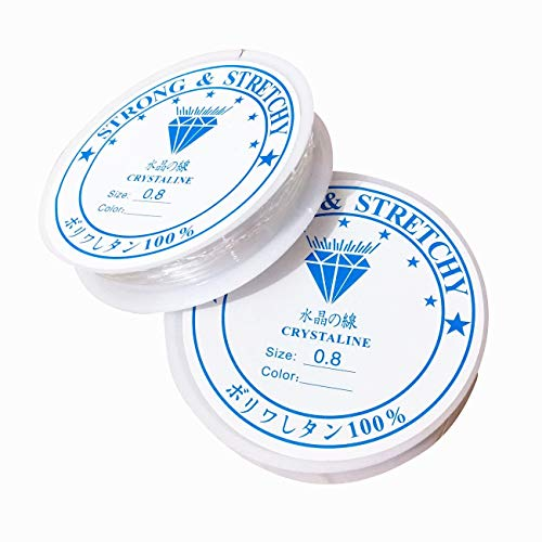 Lnvision 2xSpule 0.8mm Elastisch Schmuckfaden Gummifaden Transparent Faden für Perlenschmuck Armbänder Basteln (0.8mm)