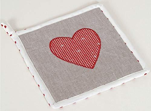 matches21 Topflappen Untersetzer Landhaus Premium ROSI grau & Herz-Applikation in rot Hitzeschutz Küche 20x20 cm 1 STK