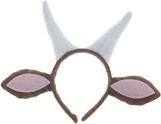 Pagreberya Goat Horns Headband with Ears- Goat Horns and Ears Costume - Goat Ears Headband with Horns - Goat Headband