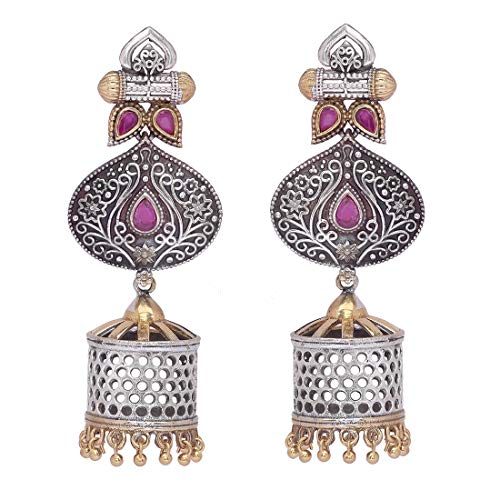 Aheli Antique Oxidized Jhumki Earrings Faux Stone Crafted Indian Traditional Ethnic Bohemian Fashion Jewellery for Women