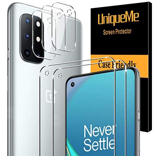 [2+3 Pack]UnqiueMe 2 Pack Schutzfolie Kompatibel mit Oneplus 8T und 3 Pack Panzerglas Kamera Schutz für Oneplus 8T,[Blasenfrei][Maximale Reichweite] HD klar Folie gehärtetes Glas Displayschutz
