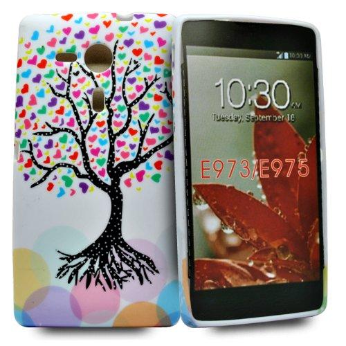 Accessory Master 5055716333527 - Carcasa de silicona para LG Optimus G E973, diseño de árbol con corazones
