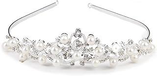 Rosenice - Tiara, diadema, principessa, corona, cerchietto, in strass, cristallo e perle, motivo floreale, colore: argento