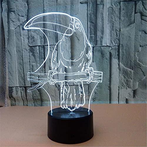 SLJZD luz de noche Lámpara De Noche Visual 3D Modelo De Pájaro Grande Colorida Para Decoración De Fiesta 7 Colores Iluminación Led Para Dormir Regalo De Cumpleaños Para Niño Con Control Remoto