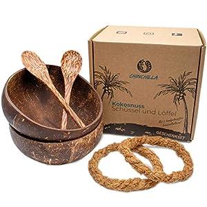 Chinchilla® Set de Boles de Coco con Cubiertos | 100% Natural, ecológico y sostenible | Tazones de Coco Natural | Bol de Madera Hecho con Coco | Coconut Bowl para Acai y Buddha Bowl