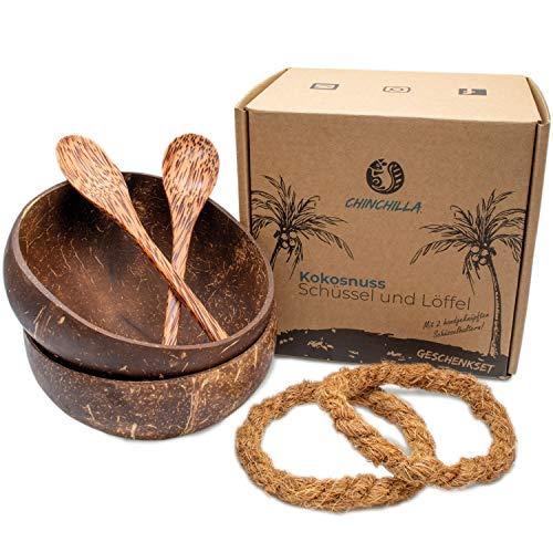 Chinchilla® 2er Set Kokosnussschalen + Holzlöffel + Halterung | Schüssel für Buddha Bowl, Acai Bowl & Poke Bowl | Natürliche Schalen aus Kokosnuss | Nachhaltige Küche | Zero Waste