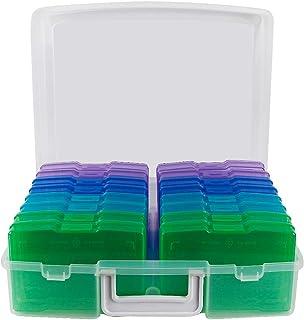 novelinks Boîtes de rangement transparentes pour photos de 10,2 x 15,2 cm – 16 pochettes intérieures pour photos (couleur ...
