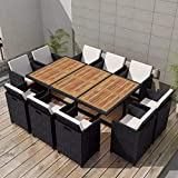Tidyard 31-teilige Garten-Essgruppe Polyrattan Gartengarnitur Sitzgruppe Schwarz Garten Terrasse Sitzgarnitur Gartenmöbel aus 1 Tisch mit Holztischplatte, 10 Stühle und 20 Kissen