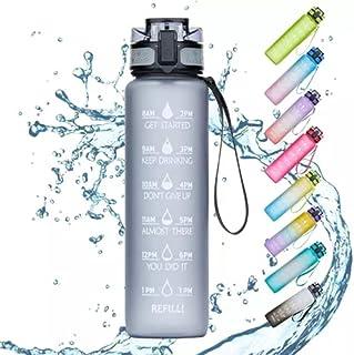 زجاجة مياه بسعة 1000 مل مع محدد الوقت ومصاصة، زجاجات مياه تحفيزية خالية من البيسفينول، Water Bottle 1L Black Sports زجاجة ...