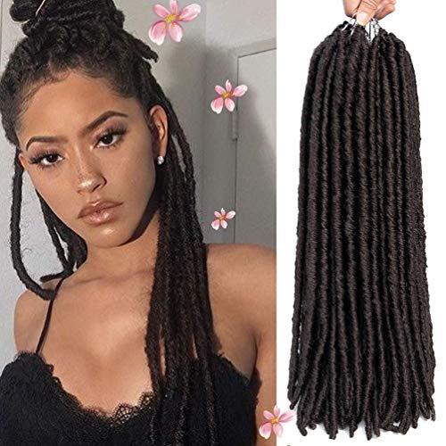 HXIAOQ Bo Locs Crochet Hair 6 Packs 18inch Nu Locs Crochet Extensions de Cheveux Kanekalon Dreadlock Crochet Twist Cheveux Bouclés Faux Locs Crochet Tresses (18 Racines/Pack),1b