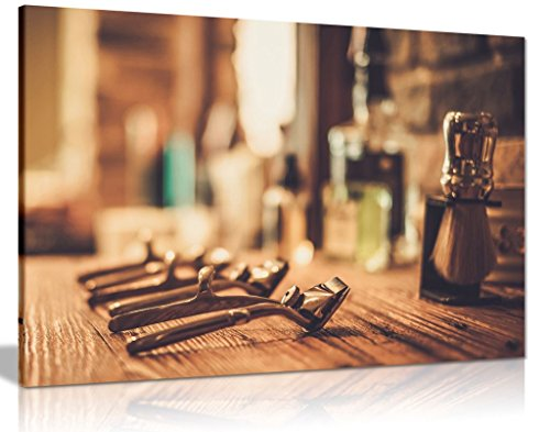 Peluquería tienda decoración accesorios de afeitado lienzo pared Art imagen impresión, A1 76x51 cm (30x20in)