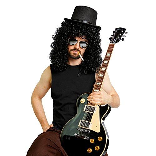 Slash Wig, Top Hat and Mirrored Sunglasses Costume Kit