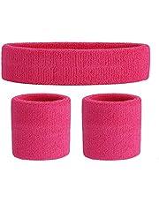 OnUpgo Juego de muñequeras para niños – banda de algodón atlético para el sudor para deportes (1 diadema + 2 pulseras)